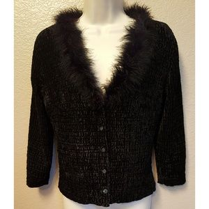 Forever 21 Feather Collar Detail Cardigan